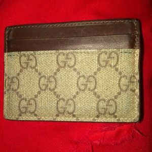 Gucci monogram brown leather card wallet